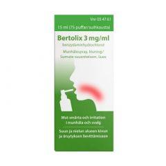 BERTOLIX 3 mg/ml sumute suuonteloon, liuos (annospumppu, 75 painallusta)15 ml